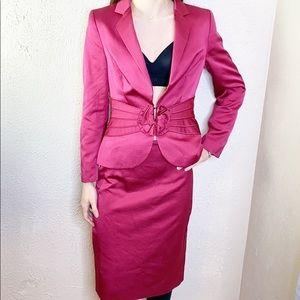 ESCADA silk magenta suit skirt rosette blazer